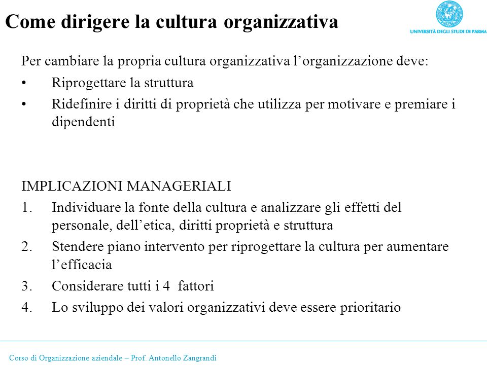 Come dirigere la cultura organizzativa