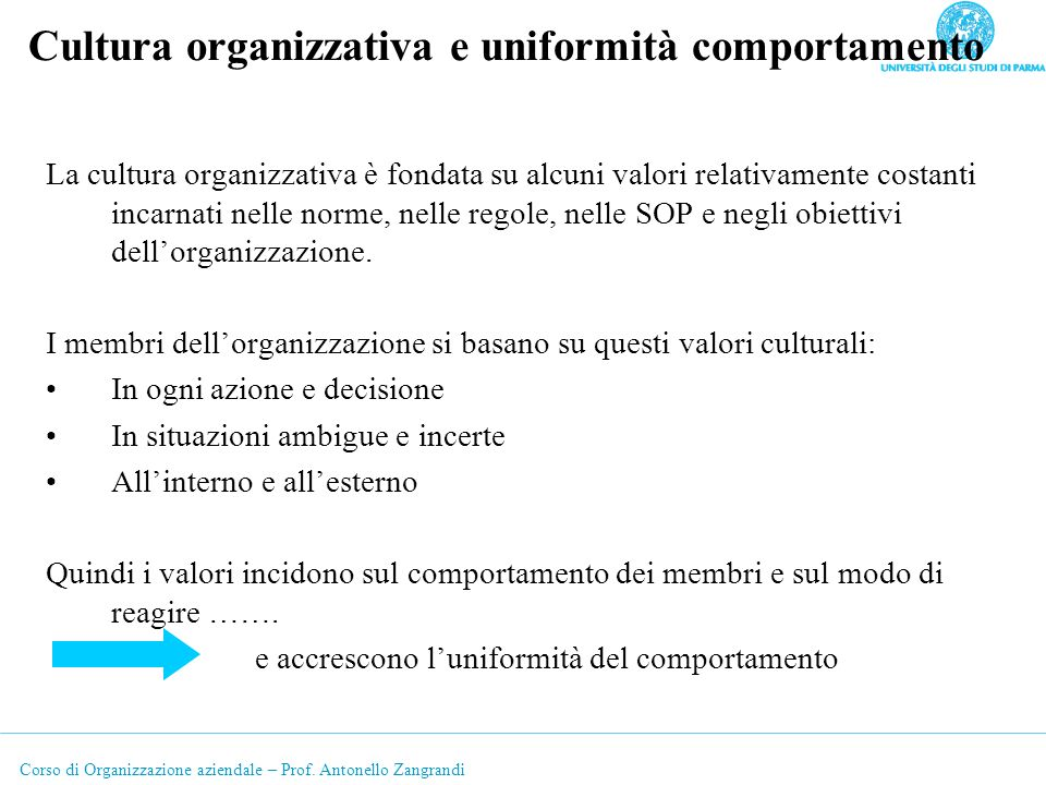Cultura organizzativa e uniformità comportamento
