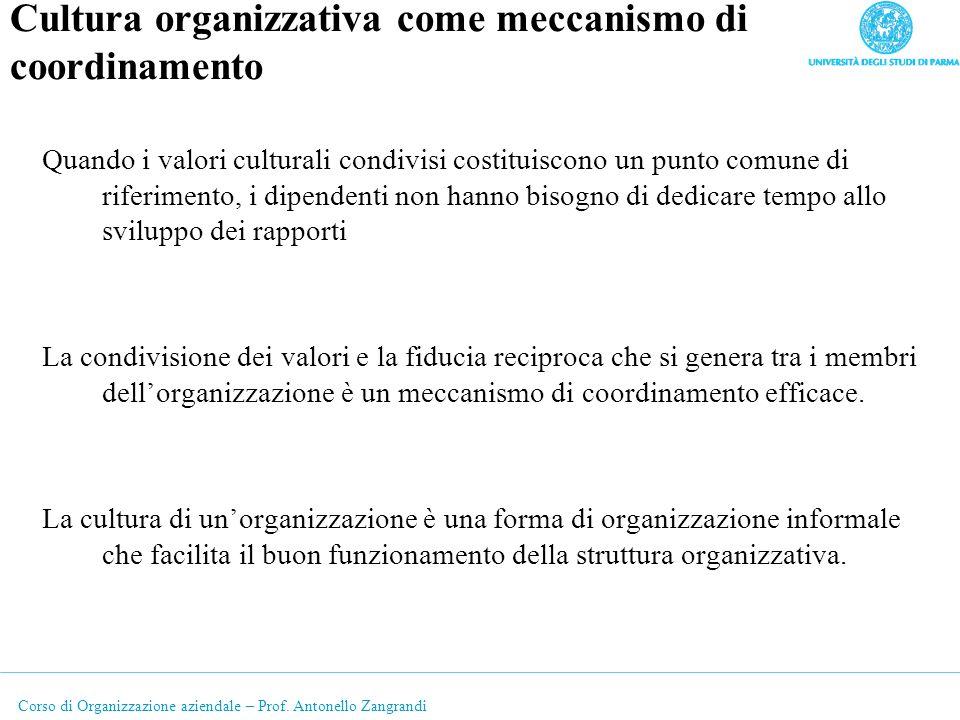 Cultura organizzativa come meccanismo di coordinamento
