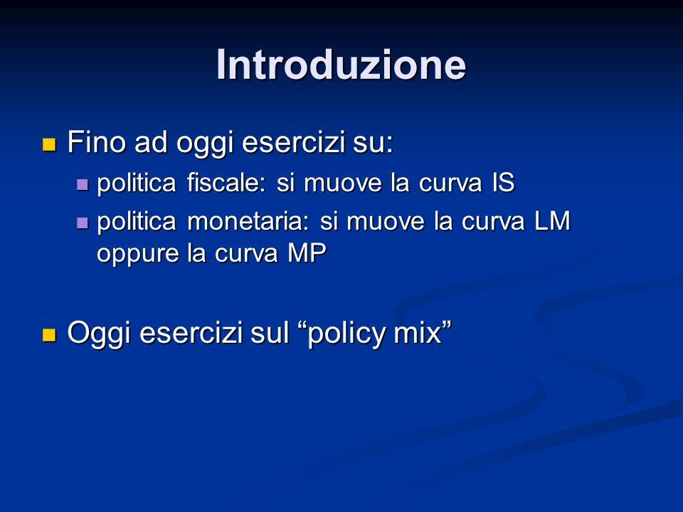 Introduzione Fino ad oggi esercizi su: Oggi esercizi sul policy mix