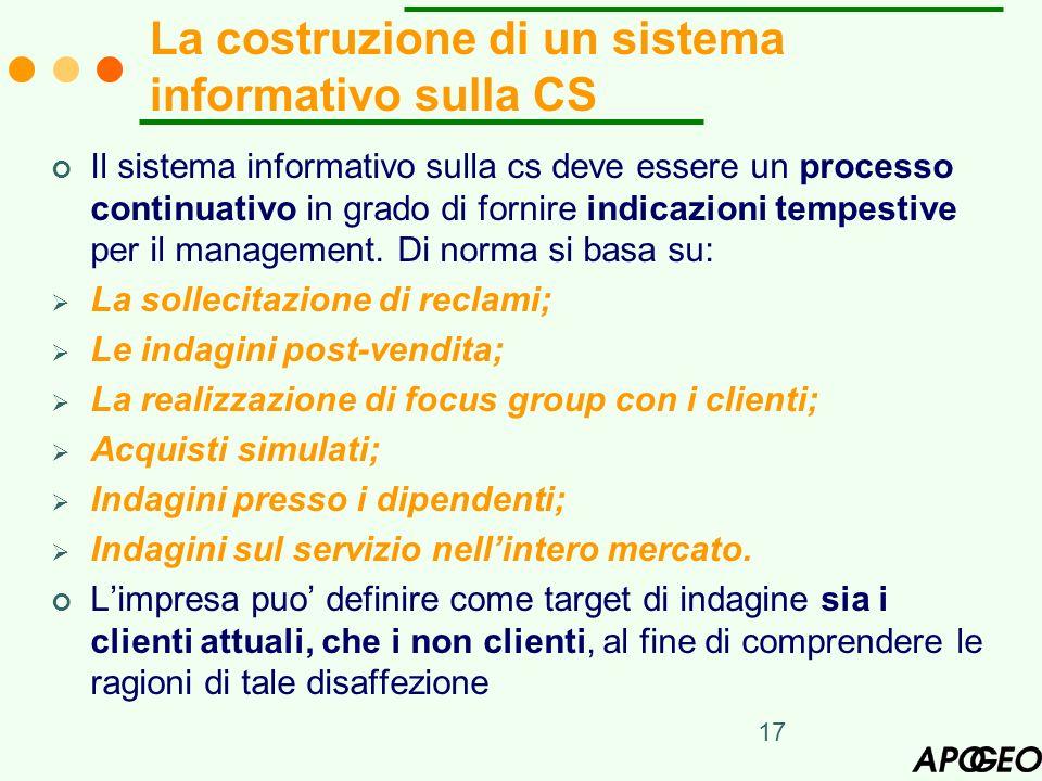 La costruzione di un sistema informativo sulla CS