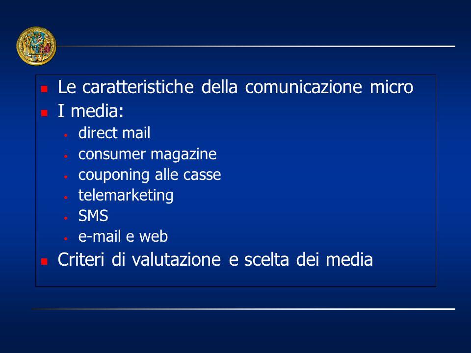 Le caratteristiche della comunicazione micro I media: