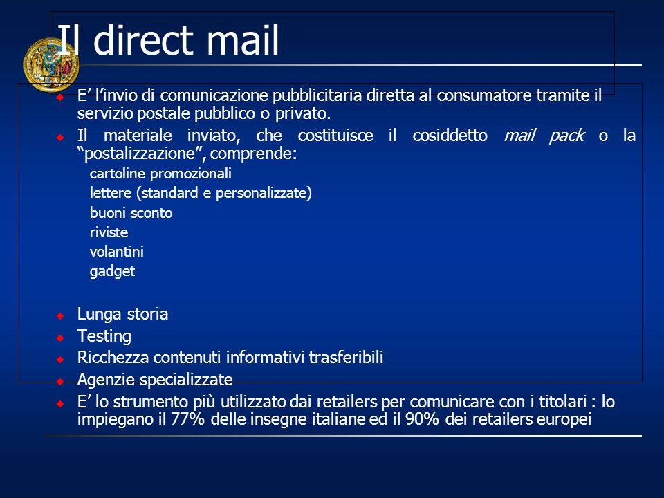 Il direct mail E' l'invio di comunicazione pubblicitaria diretta al consumatore tramite il servizio postale pubblico o privato.