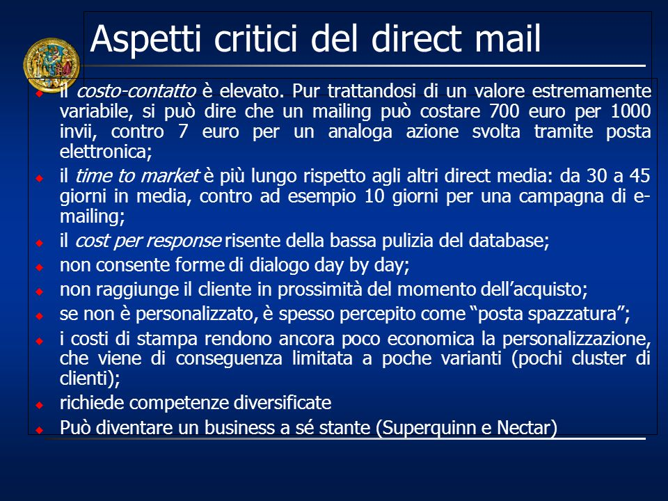 Aspetti critici del direct mail