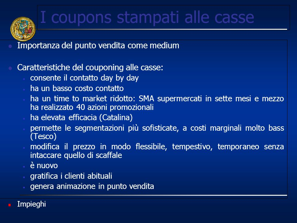 I coupons stampati alle casse