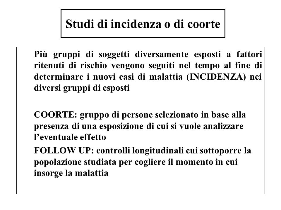 Studi di incidenza o di coorte