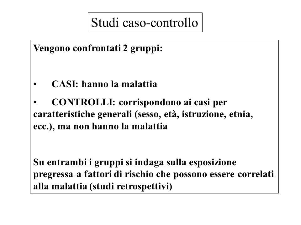 Studi caso-controllo Vengono confrontati 2 gruppi:
