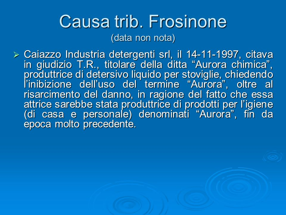 Causa trib. Frosinone (data non nota)