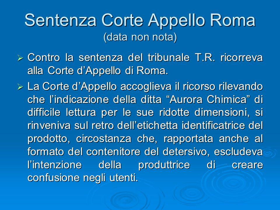 Sentenza Corte Appello Roma (data non nota)