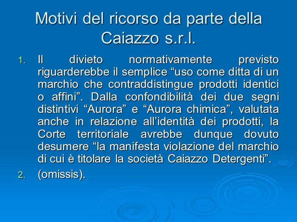Motivi del ricorso da parte della Caiazzo s.r.l.