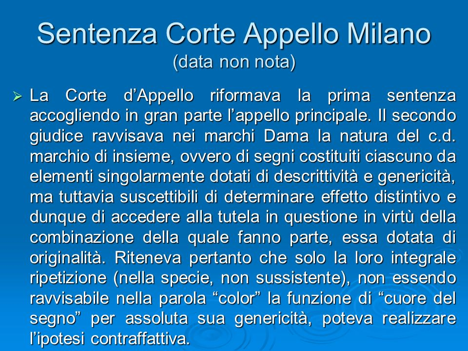 Sentenza Corte Appello Milano (data non nota)