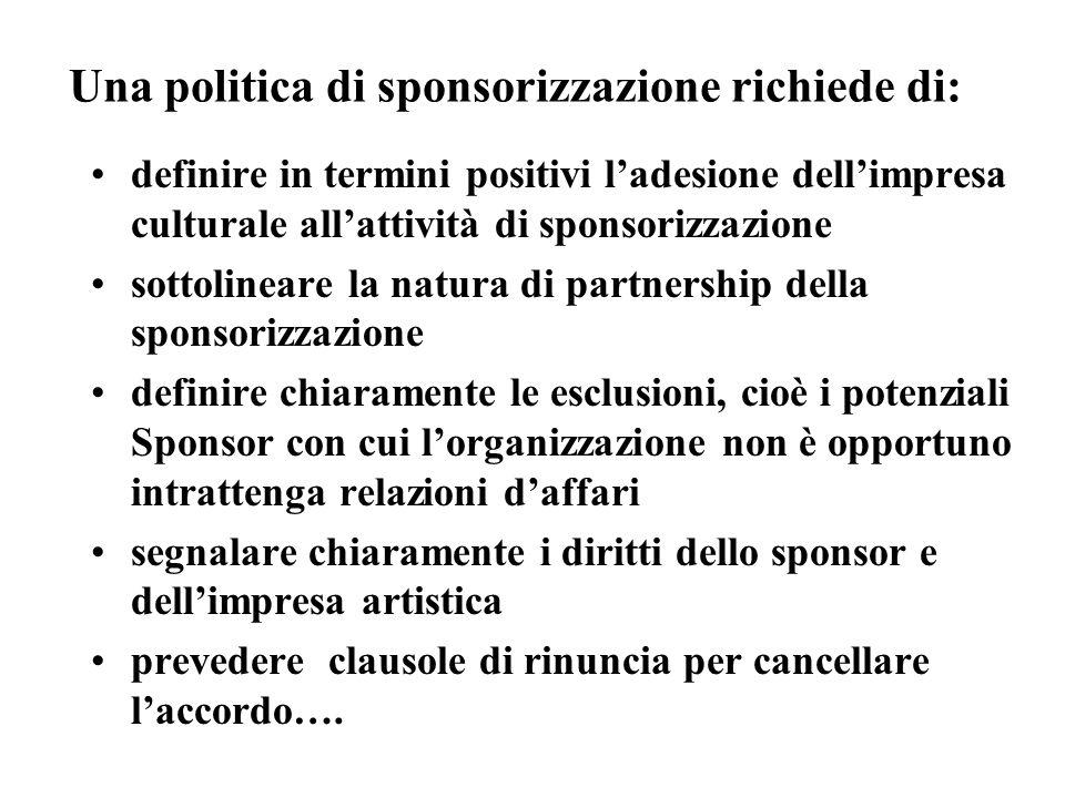 Una politica di sponsorizzazione richiede di: