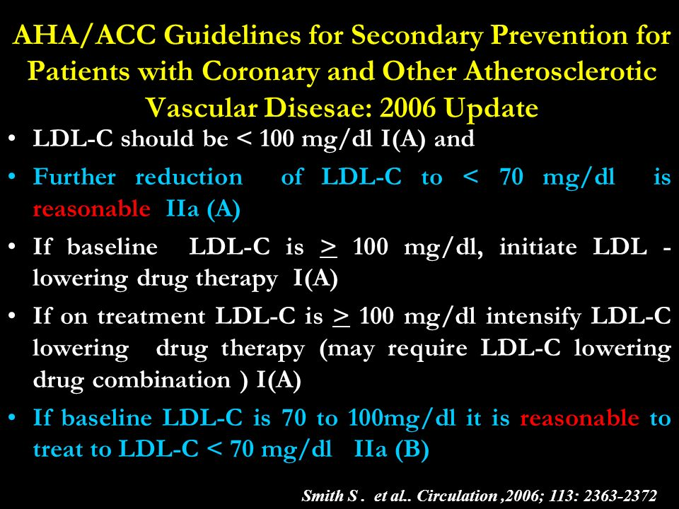 AHA/ACC Guidelines for Secondary Prevention for Patients with Coronary and Other Atherosclerotic Vascular Disesae: 2006 Update