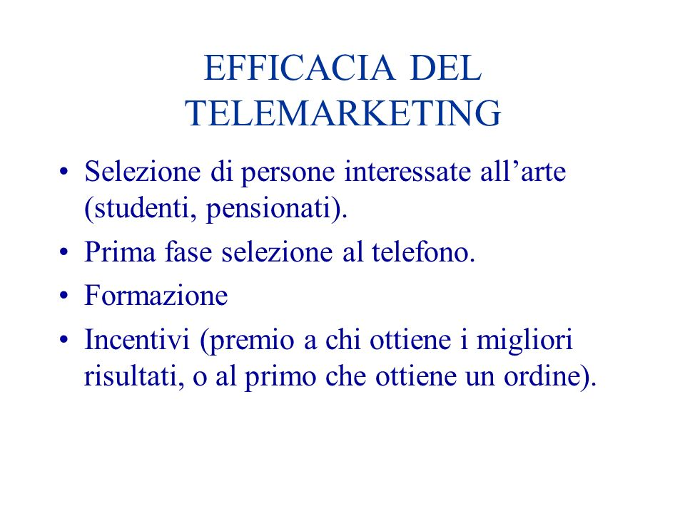EFFICACIA DEL TELEMARKETING