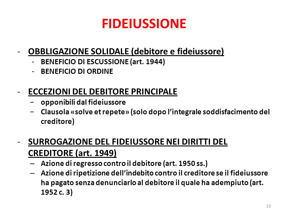 FIDEIUSSIONE OBBLIGAZIONE SOLIDALE (debitore e fideiussore)