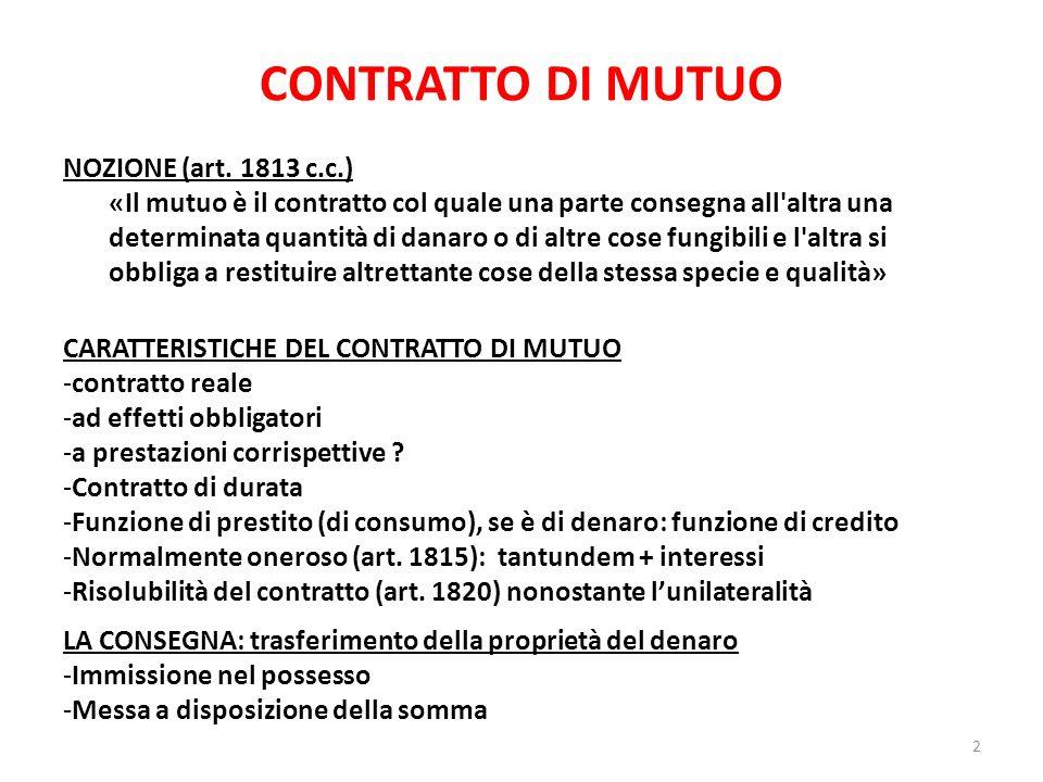 CONTRATTO DI MUTUO NOZIONE (art. 1813 c.c.)