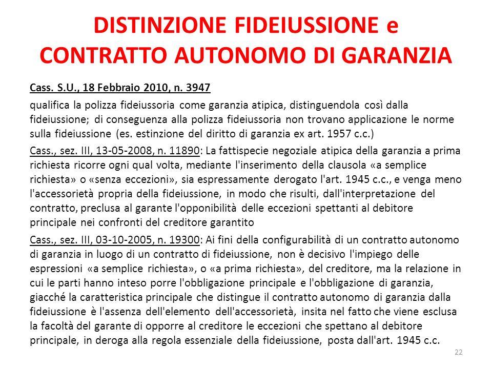 DISTINZIONE FIDEIUSSIONE e CONTRATTO AUTONOMO DI GARANZIA
