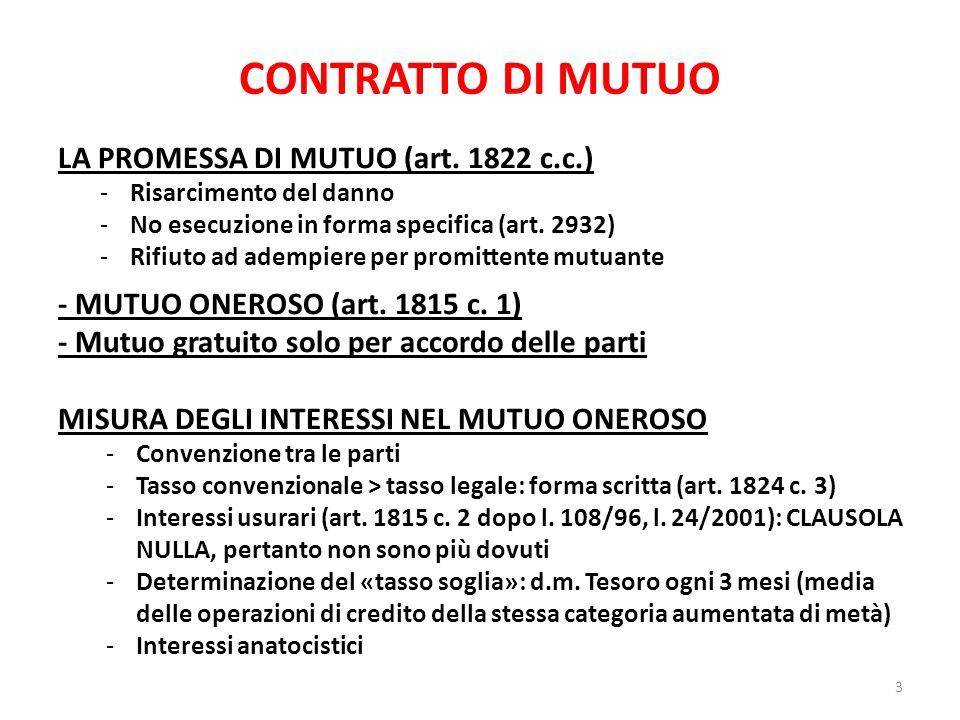 CONTRATTO DI MUTUO LA PROMESSA DI MUTUO (art. 1822 c.c.)
