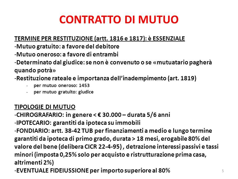 CONTRATTO DI MUTUO TERMINE PER RESTITUZIONE (artt. 1816 e 1817): è ESSENZIALE. Mutuo gratuito: a favore del debitore.