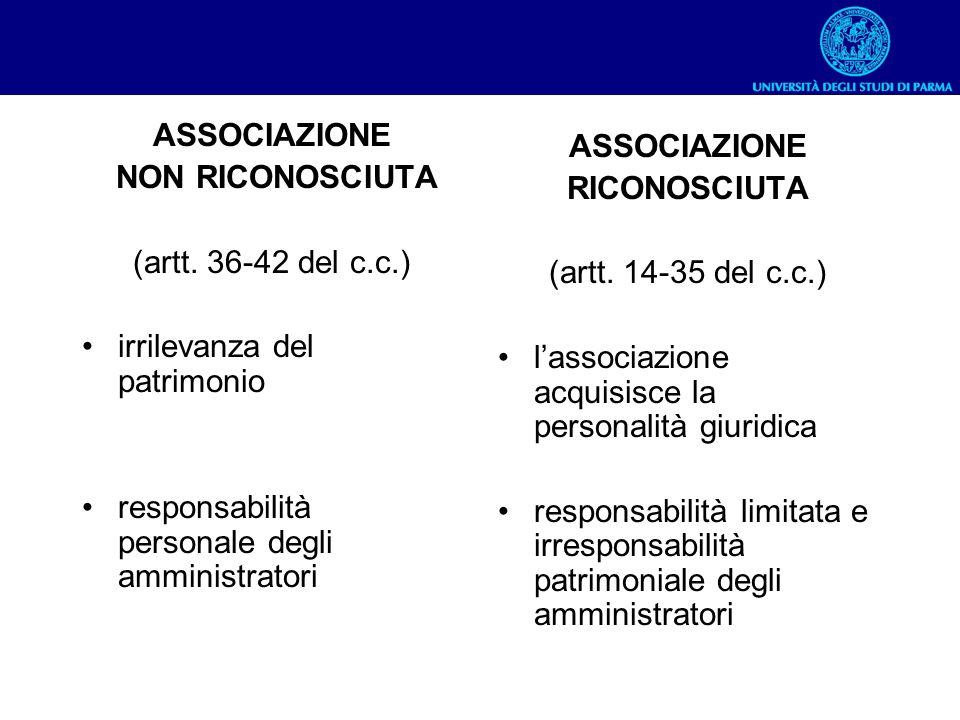 ASSOCIAZIONE NON RICONOSCIUTA. (artt. 36-42 del c.c.) irrilevanza del patrimonio. responsabilità personale degli amministratori.