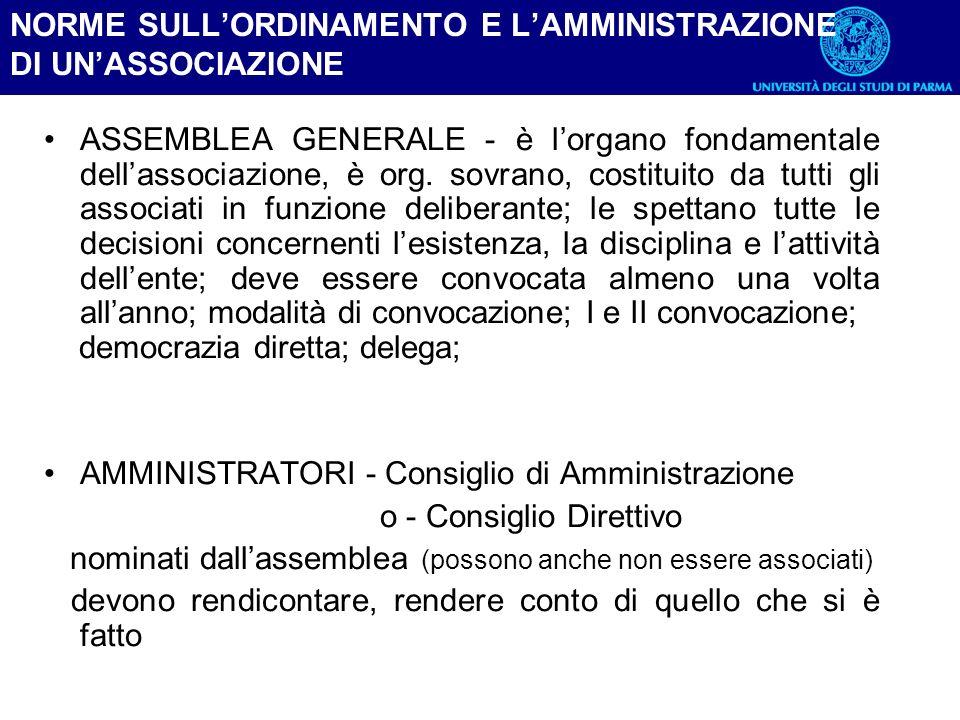 NORME SULL'ORDINAMENTO E L'AMMINISTRAZIONE DI UN'ASSOCIAZIONE
