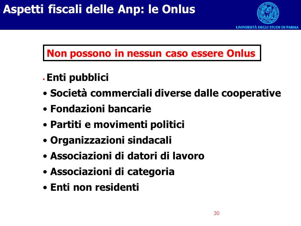 Aspetti fiscali delle Anp: le Onlus