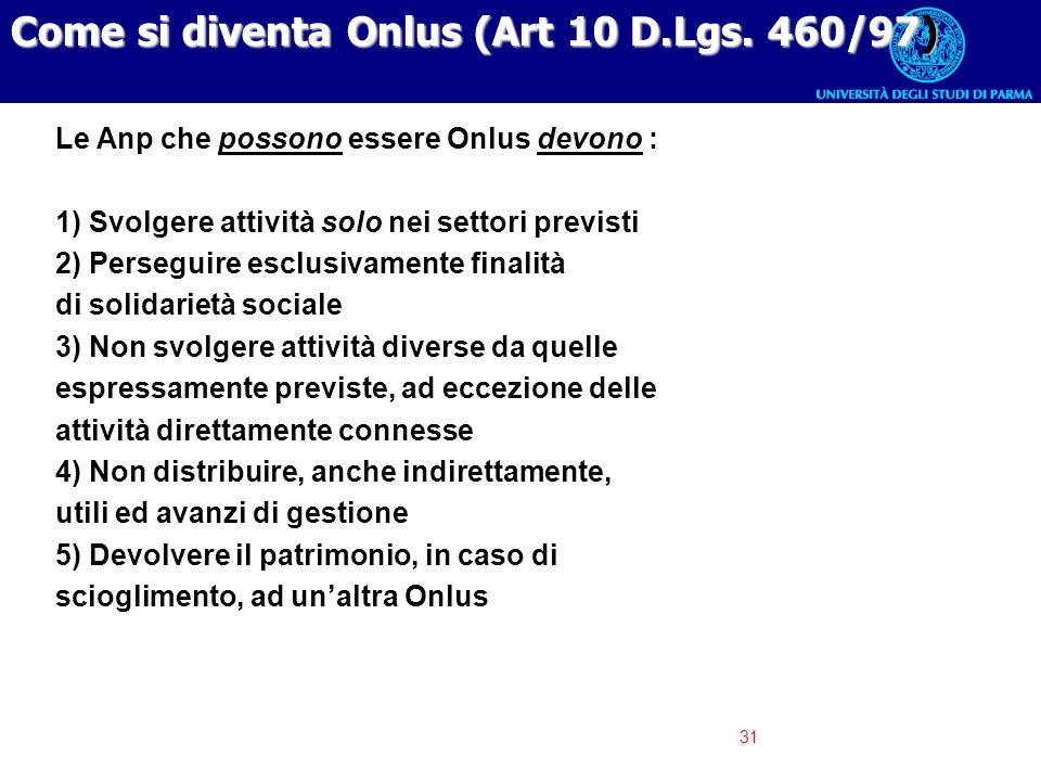 Come si diventa Onlus (Art 10 D.Lgs. 460/97)