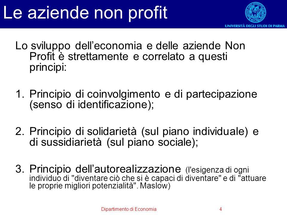 Le aziende non profit Lo sviluppo dell'economia e delle aziende Non Profit è strettamente e correlato a questi principi: