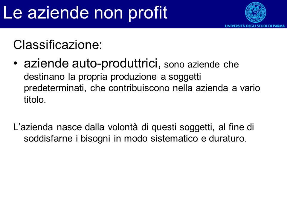 Le aziende non profit Classificazione: