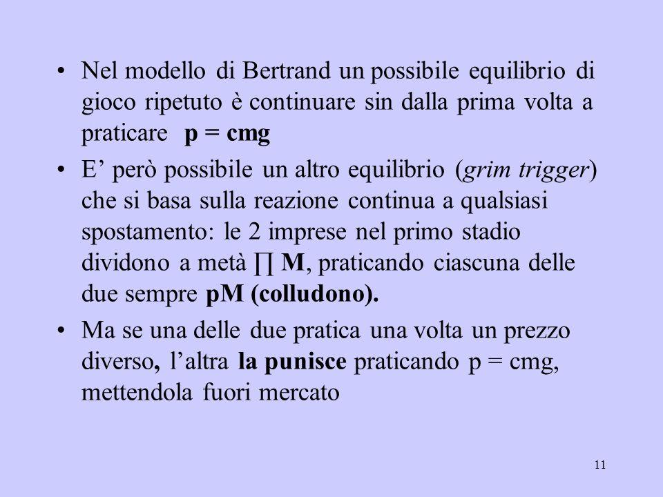 Nel modello di Bertrand un possibile equilibrio di gioco ripetuto è continuare sin dalla prima volta a praticare p = cmg