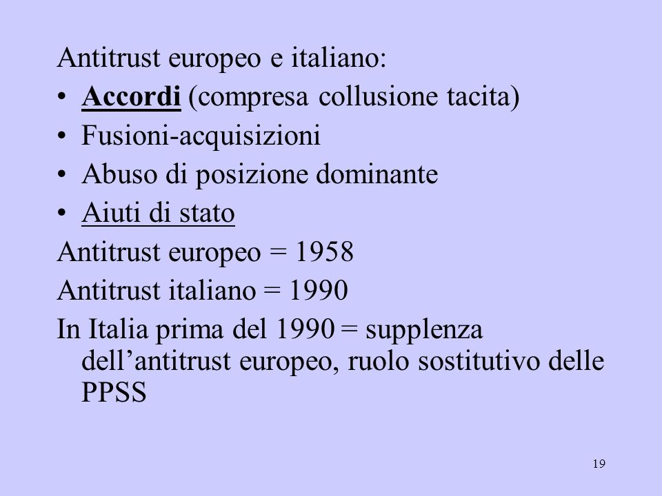 Antitrust europeo e italiano: