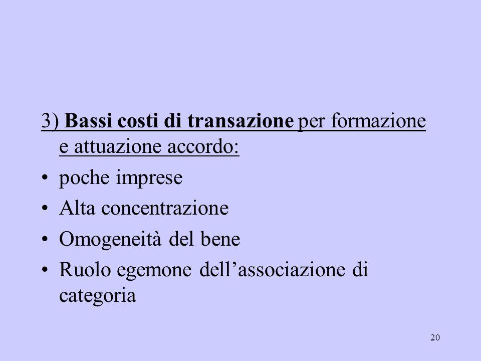 3) Bassi costi di transazione per formazione e attuazione accordo: