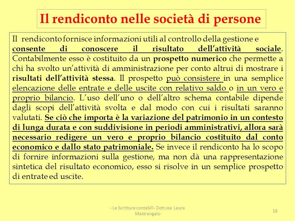 - Le Scritture contabili- Dott.ssa Laura Mastrangelo