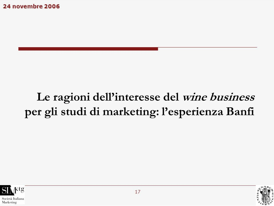 Le ragioni dell'interesse del wine business per gli studi di marketing: l'esperienza Banfi