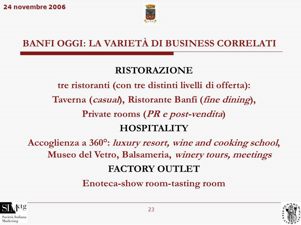 BANFI OGGI: LA VARIETÀ DI BUSINESS CORRELATI