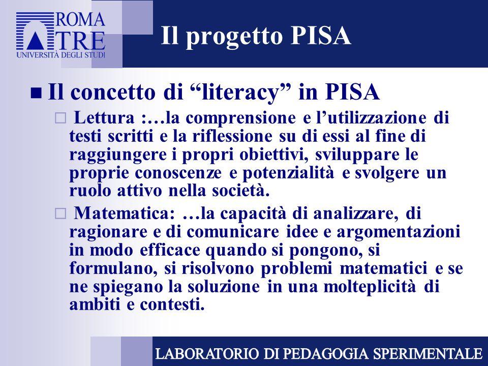 Il progetto PISA Il concetto di literacy in PISA
