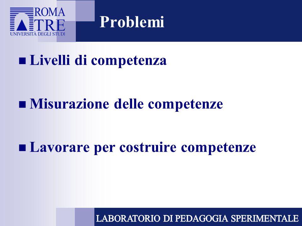 Problemi Livelli di competenza Misurazione delle competenze