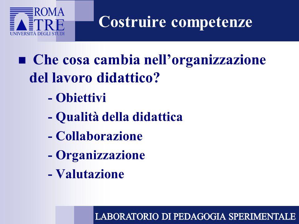 Costruire competenze Che cosa cambia nell'organizzazione del lavoro didattico - Obiettivi. - Qualità della didattica.