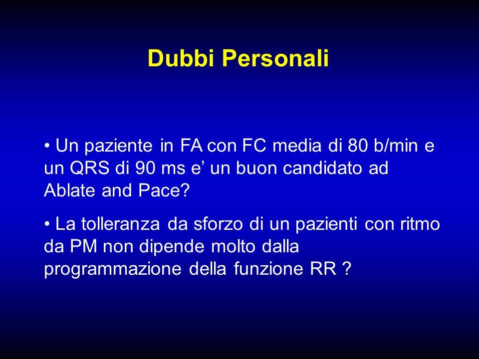 Dubbi Personali Un paziente in FA con FC media di 80 b/min e un QRS di 90 ms e' un buon candidato ad Ablate and Pace