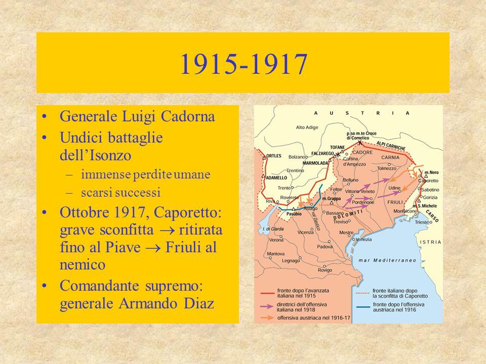 1915-1917 Generale Luigi Cadorna Undici battaglie dell'Isonzo