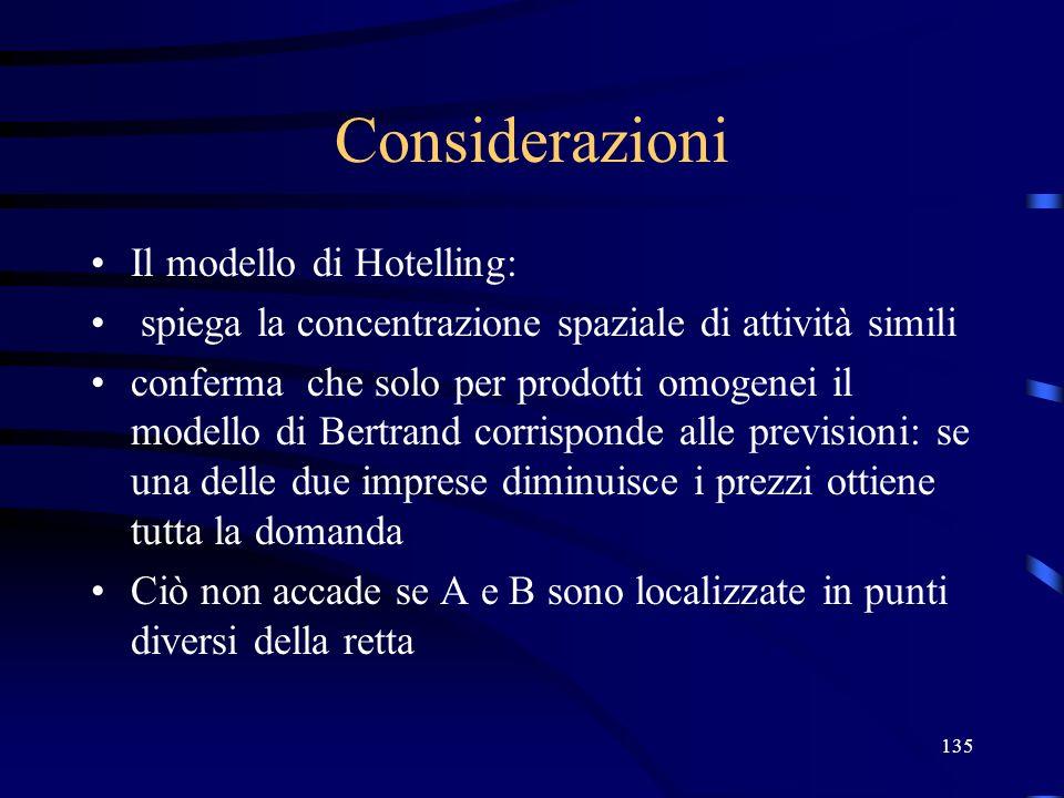 Considerazioni Il modello di Hotelling: