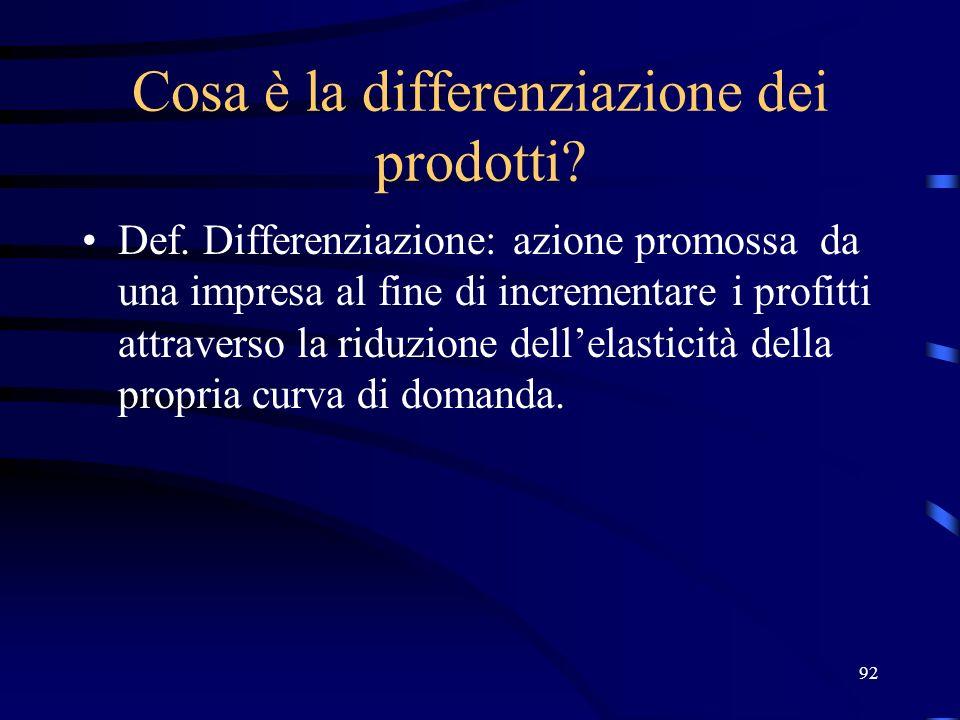Cosa è la differenziazione dei prodotti
