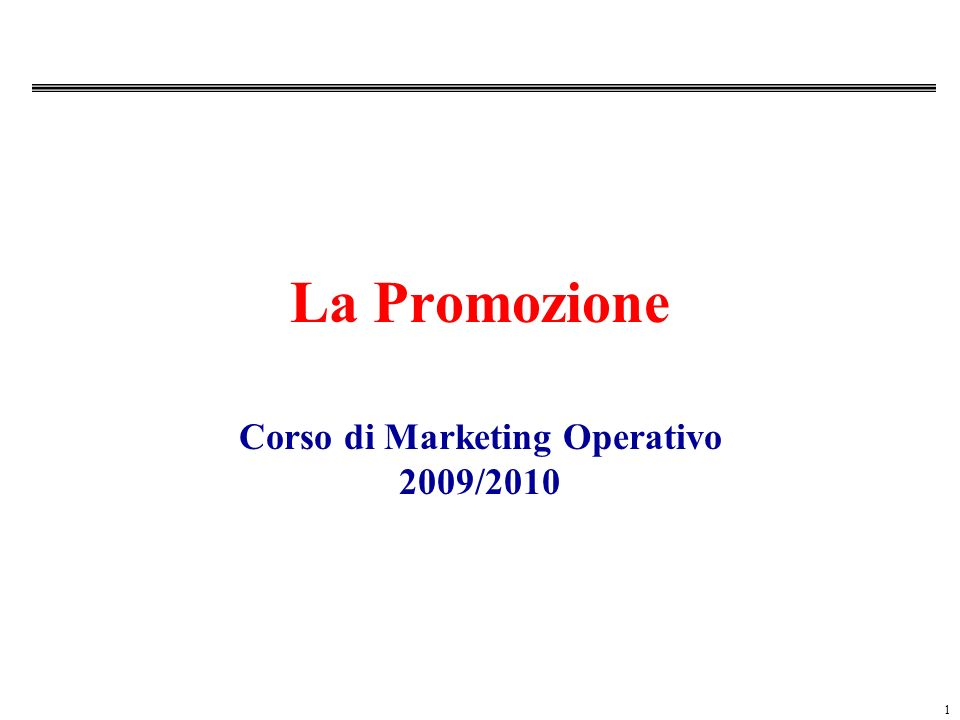 Corso di Marketing Operativo 2009/2010