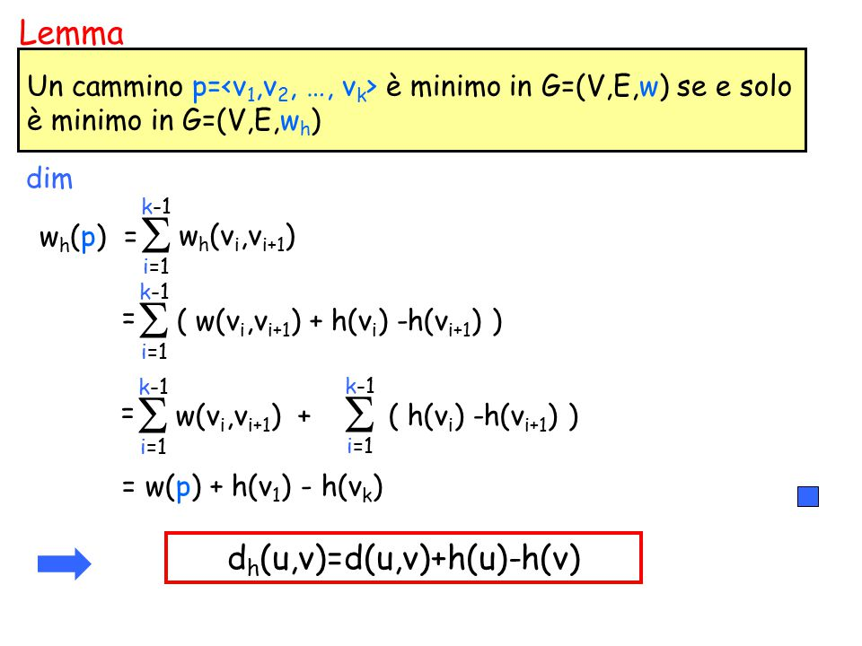 dh(u,v)=d(u,v)+h(u)-h(v)