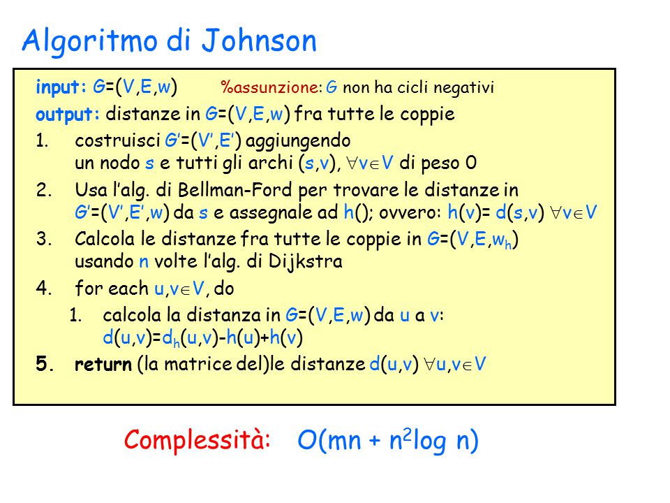 Algoritmo di Johnson Complessità: O(mn + n2log n)