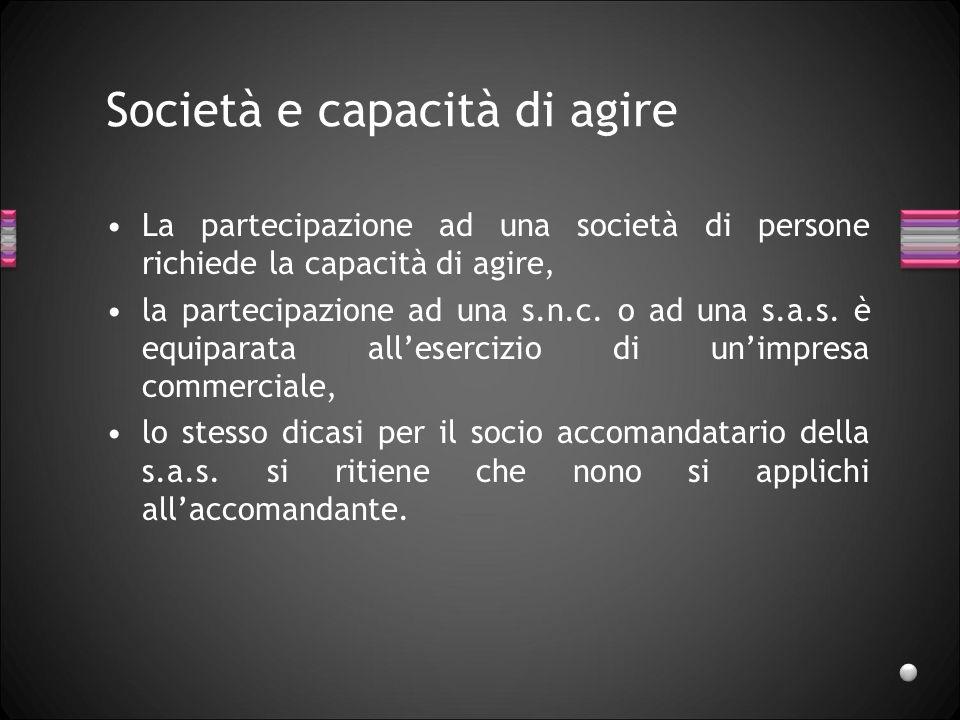 Società e capacità di agire