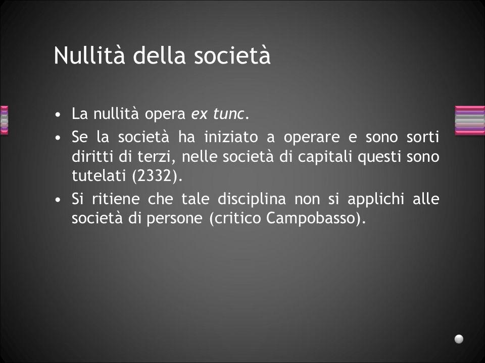 Nullità della società La nullità opera ex tunc.