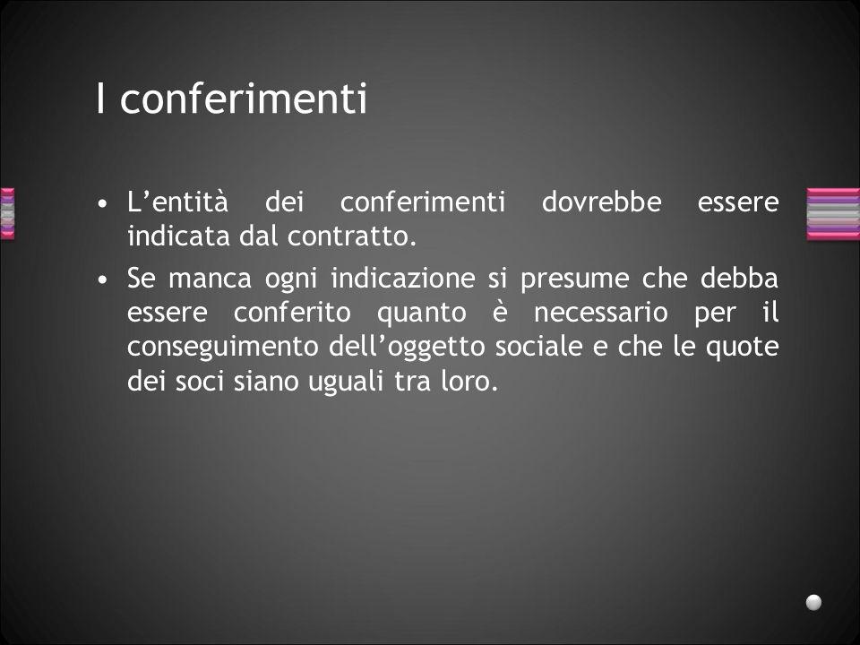 I conferimenti L'entità dei conferimenti dovrebbe essere indicata dal contratto.