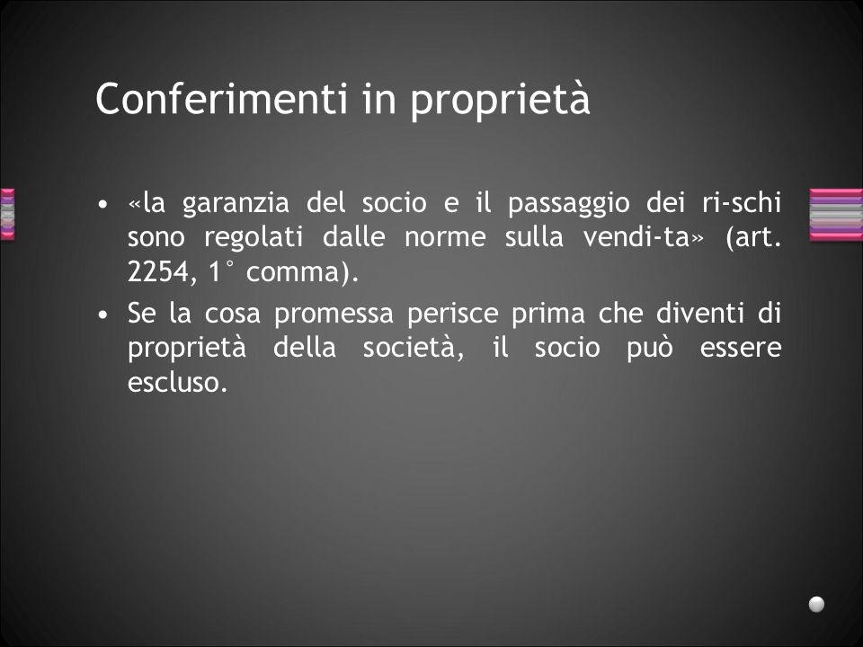 Conferimenti in proprietà