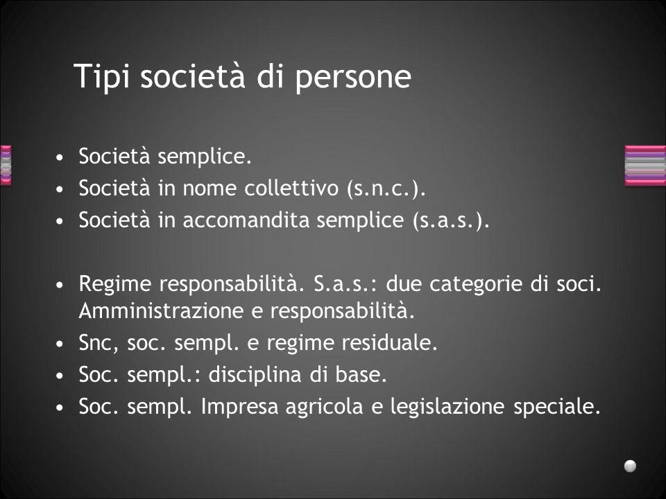Tipi società di persone